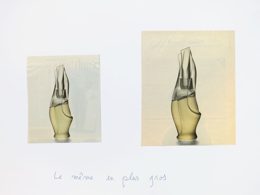 Claude Closky, 'Le même en plus gros [the same, bigger (cashmere mist)]', 1996-1998, blue ballpoint pen and collage on paper, 50 x 70 cm.